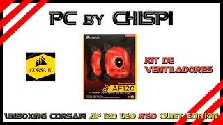 unboxing del kit de ventiladores corsair af120 led red quiet edition