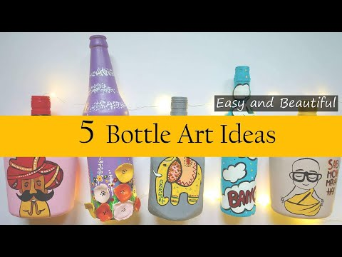 5-bottle-decoration-ideas-|-diy-bottle-art-|-simple-glass-bottle-painting-designs-|-bottle-craft