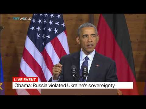 US president Obama speaks in Germany