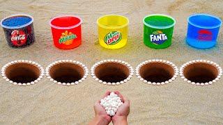 Coca Cola, Mirinda, Mtn Dew, Fanta, Pepsi vs Mentos in Different Holes Underground