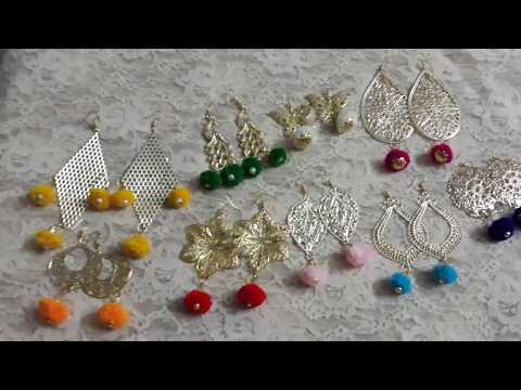 D.i.y how to make pom pom metal earrings at home tutorial 2018