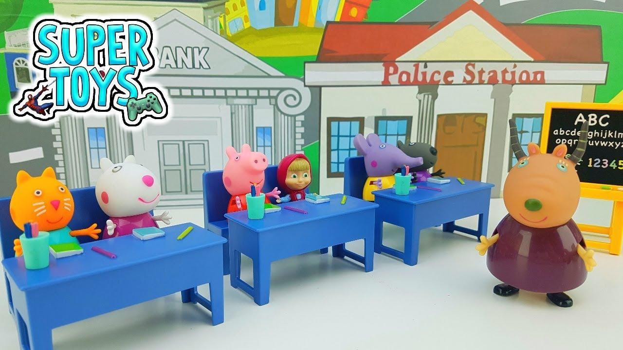 Peppa Pig Classroom Masha E Orso Mamma Pig Madame Gazzella Il