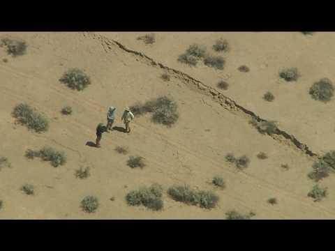 Fissure Visible in Desert After Earthquakes in Southern California
