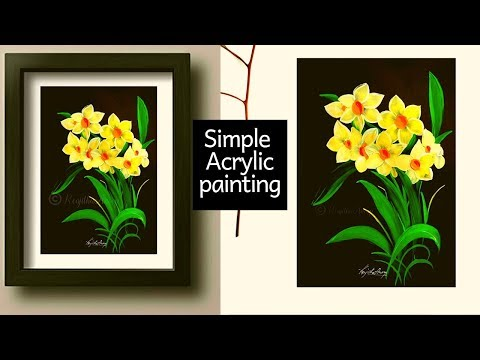 Easy acrylic painting tutorial | how to paint spring daffodils flowers | Step by Step art painting thumbnail