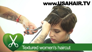 Textured woman`s haircut. parikmaxer TV USA