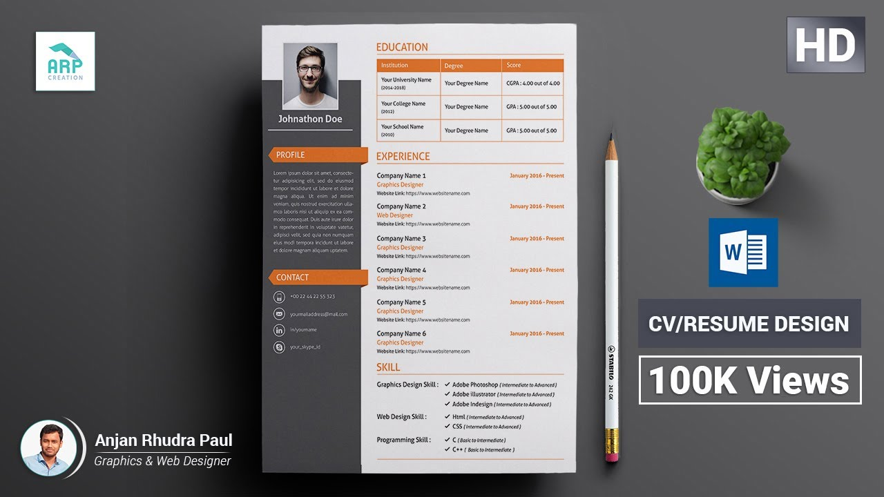how to create a cv  resume template in microsoft word docx   docx tutorial