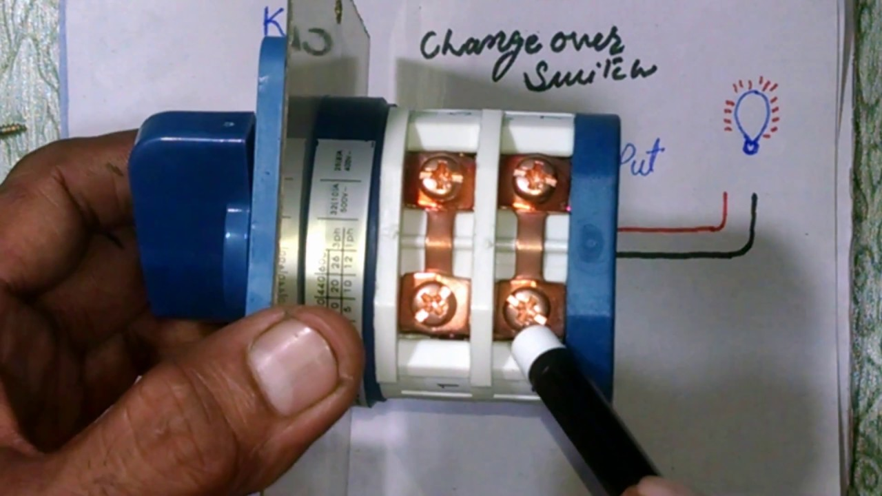 changeover switch easy connection with diagram for generator in urdu hindi [ 1280 x 720 Pixel ]