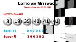 Lottozahlen aktuell - Ziehung vom Mittwochslotto 22.6.2016