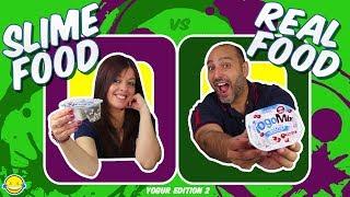 SLIME FOOD vs REAL FOOD Yogurt Edition 2 !! Comida Real vs Comida de Slime! Bego y Jordi !! MD