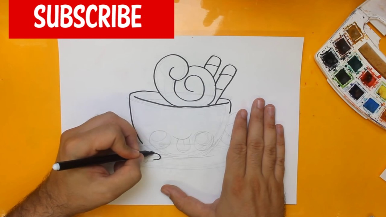 HOW TO DRAW A CUP OF COFFEE CUTE, Easy step by step ...
