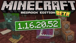 Minecraft Bedrock BETA 1.16.20.52 OUT NOW ! Zombie's + Fill Command [ Change Log ] MCPE,Xbox,Windows