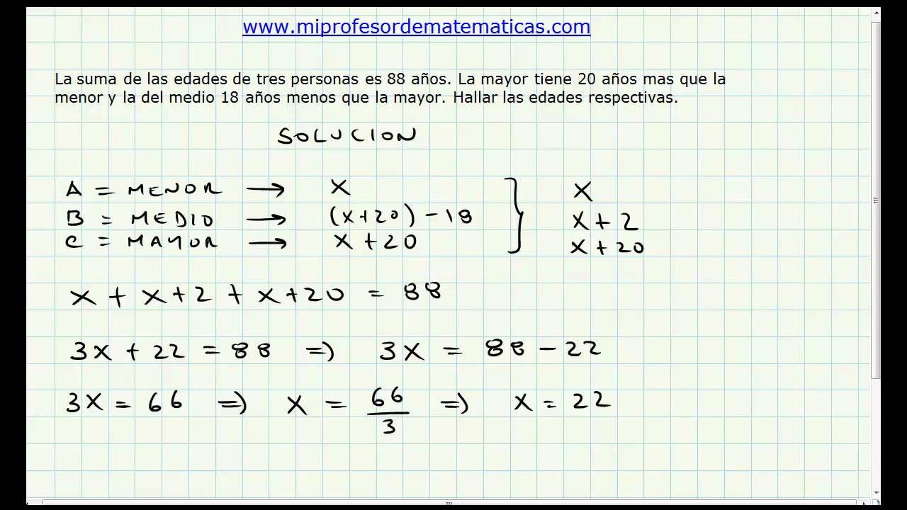 Problema Aplicacion Ecuaciones de Primer Grado - Algebra General ...