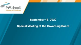 September 18, 2020 - Governing Board Special Meeting