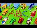 تعلم الأبجدية مع حريق شاحنة، الحفارات والجرارات اللعب للأطفال - Fire Truck, Excavator Toys for kids