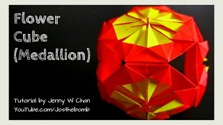Repeat youtube video DIY How to Fold Origami Flower Medallion & Cube Tutorial - Easy Origami