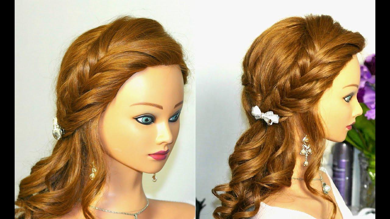 Прическа на выпускной для длинных волос с плетением Youtube