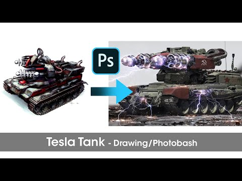 Red Alert 2 Tesla Tank - Drawing/Photobash