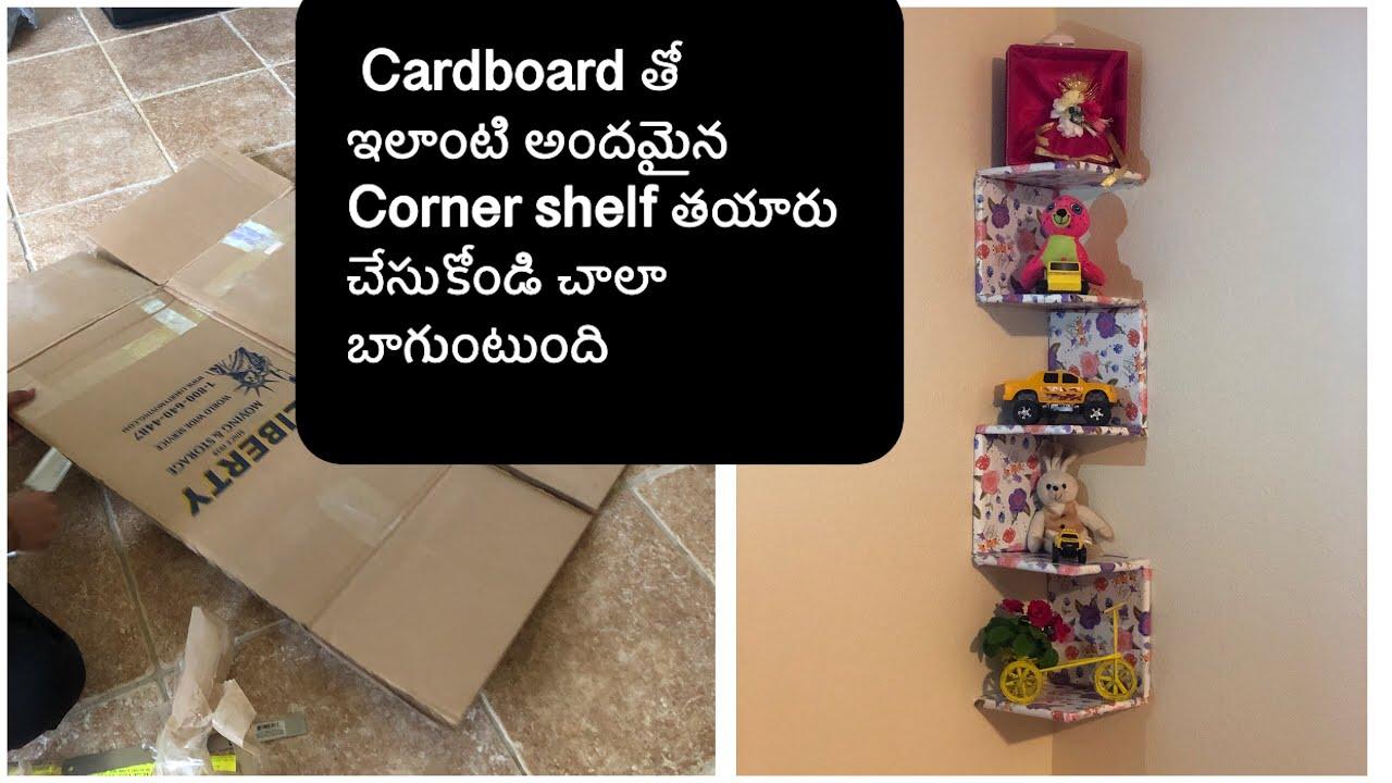 Diy Beautiful Corner Shelf With Cardboard Very Easy And No Cost Best Diy Ever
