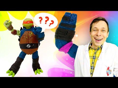 Черепашки Ниндзя в видео про игрушки – Мутаген для Микеланджело! – игры в больницу у Доктора Ой