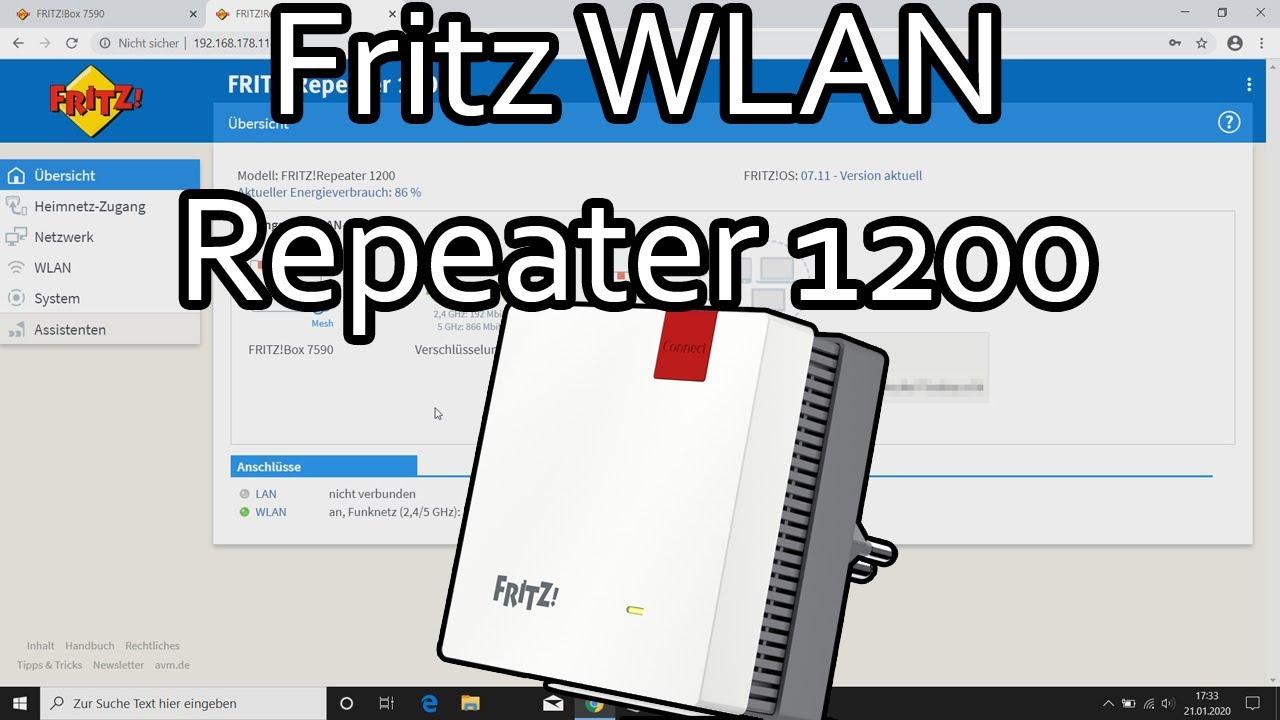 Fritz WLAN Repeater 20 verbinden und einrichten WLAN Brücke, LAN Brücke,  Mesh aktivieren