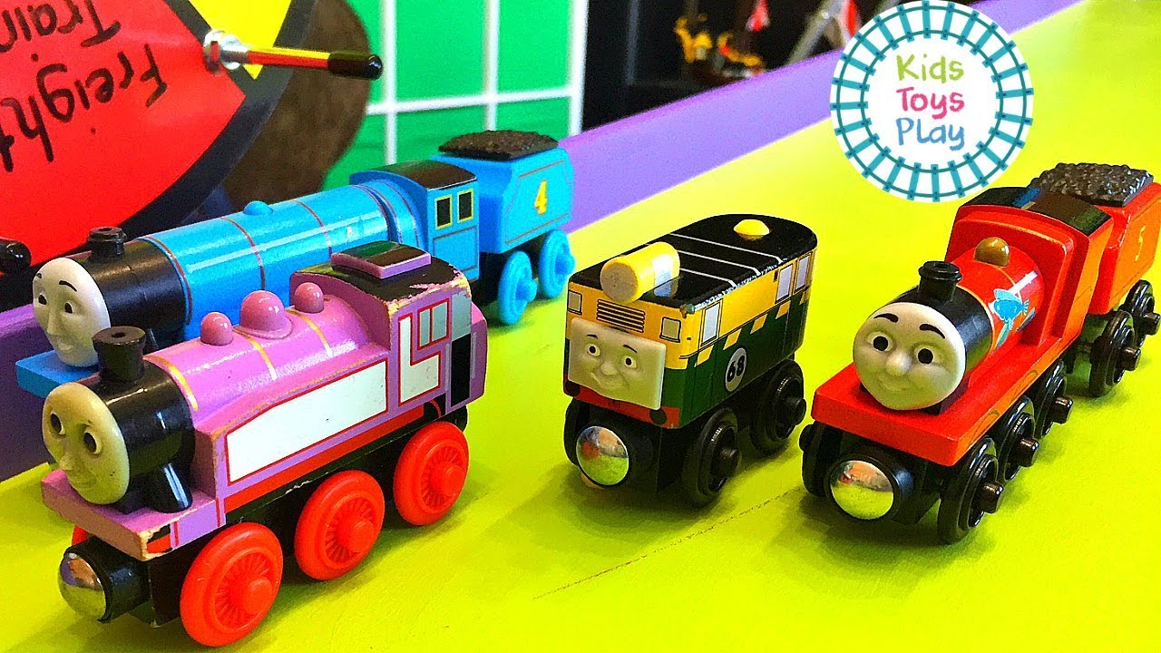 Thomas the Train Downhill Train Races | Diesels VS Steamies Railway Mystery Wheel Challenge