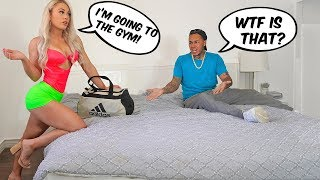 Wearing a Stripper Outfit To The Gym PRANK On Fiancé