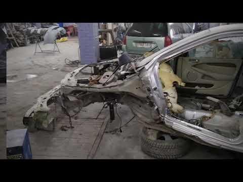 ТРЕШ!!!Кузовной ремонт автомобиля Ягуар  Body Repair, вытяжка на самодельном стапеле