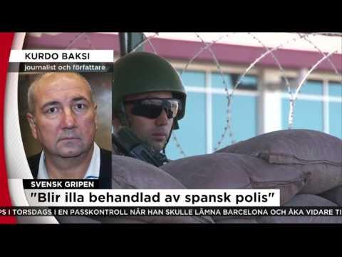 Svensk författare gripen i Barcelona - Nyheterna (TV4)