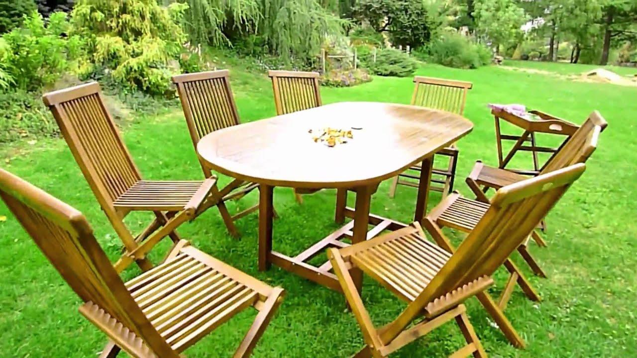 salon de jardin en teck oval 8 personnes.m2ts - YouTube