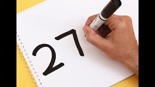 How to turn Number 27 into a Cartoon TELEPHONE ! Drawing Art for kids