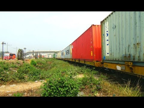 Freight Train Of Bangladesh Railway Passing Through Kuril Bishwa Road, Dhaka, Bangladesh