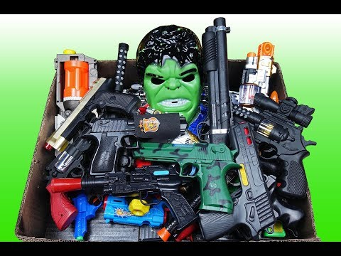 Full Box of Gun Toys Which Weapon Toys have in this Box - Video for Kids!