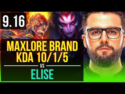 Maxlore BRAND vs ELISE (JUNGLE) | KDA 10/1/5, Godlike | EUW Grandmaster | v9.16
