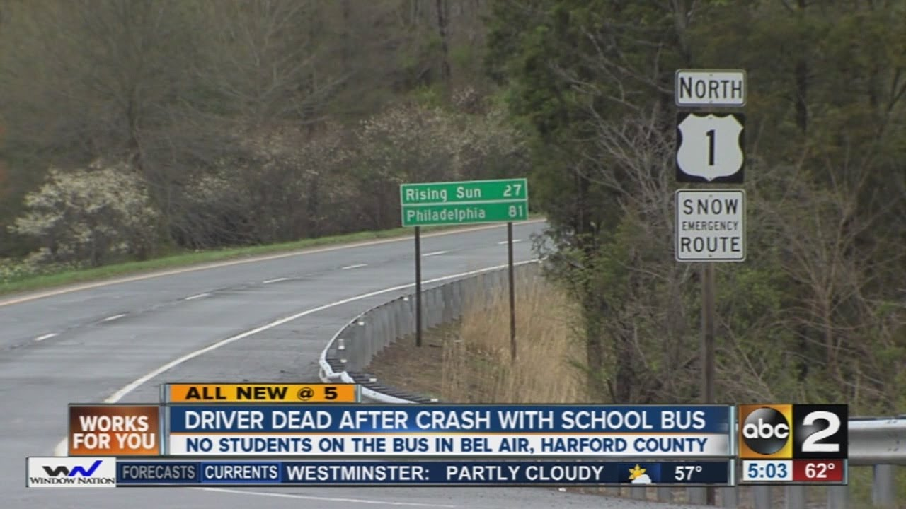 1 dead in crash involving school bus in Harford County