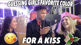 GUESSING GIRLS FAVORITE COLOR FOR A KISS !!! 😘🎄 UNDER A MISTLETOE (CHRISTMAS SPECIAL 🎁)