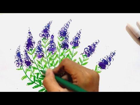 Ayo Menggambar Bunga Lavender Dengan Spidol How To Draw Lavender With Marker Youtube