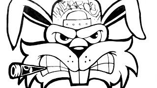 Como dibujar un conejo - How to draw a graffiti character rabbit