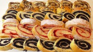 ТРИ ВИДА РУЛЕТА НА ПОСТНОМ ТЕСТЕ. Three rolls on lean dough.