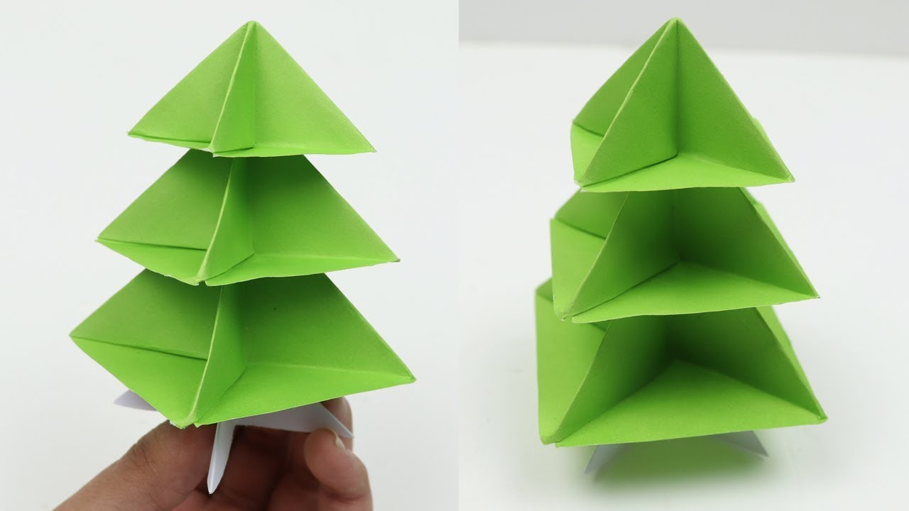 How to Make Very Easy Paper Christmas Tree 3D - DIY Quick and Easy Origami Christmas Tree ...