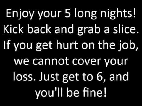 "JT Machinima - ""Five Long Nights (FNAF 1 Rap)"" lyrics"