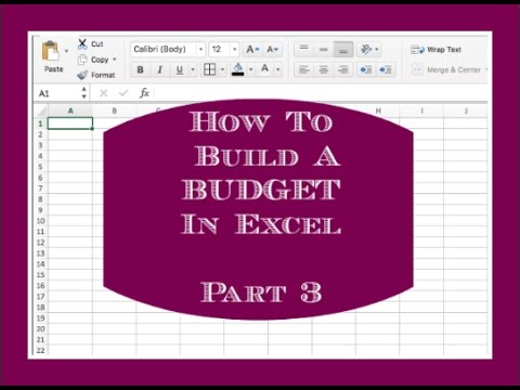 how to build a budget in excel part 3 youtube