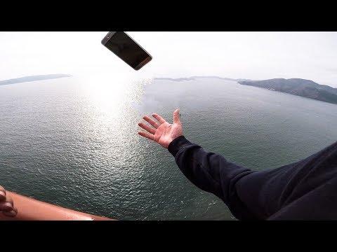 EXTREME Phone Flip off Golden Gate Bridge #windy