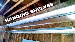 DIY Hanging Shelves, Garage Storage Built with Steel Strut