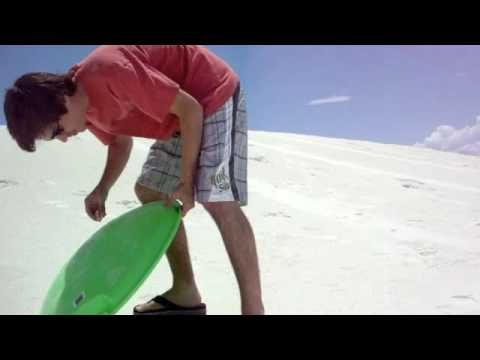 Sledding at White Sands National Monument