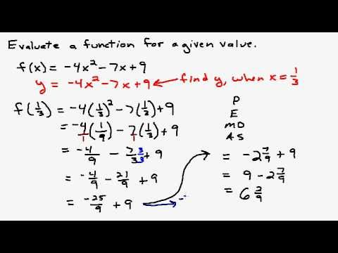 Evaluate a Function at Given Values - YouTube