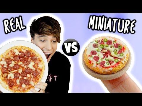 MINI Food vs. REAL Food!!! Pizza, Taco & Dorayaki