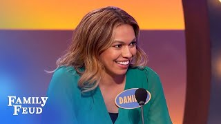 """Danielle's """"crazy-ass"""" answer has dad shaking his head!   Family Feud"""