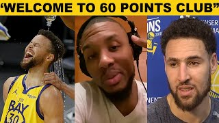 NBA Players React to Steph Curry  Career High 62 points vs Blazers(GSW vs Portland)Klay,ayesha,kerr