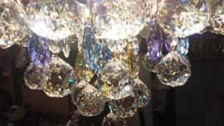 Подвесная круглая люстра DL-9161/45 Gold strass(Роскошная потолочная люстра с хрустальными подвесками и цветными бусинами прекрасно подойдет для гостино..., 2016-12-18T22:53:01.000Z)