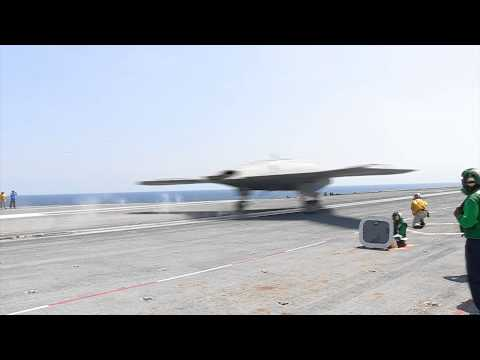Autonomous X-47B drone successfully lands on Navy aircraft carrier for the first time